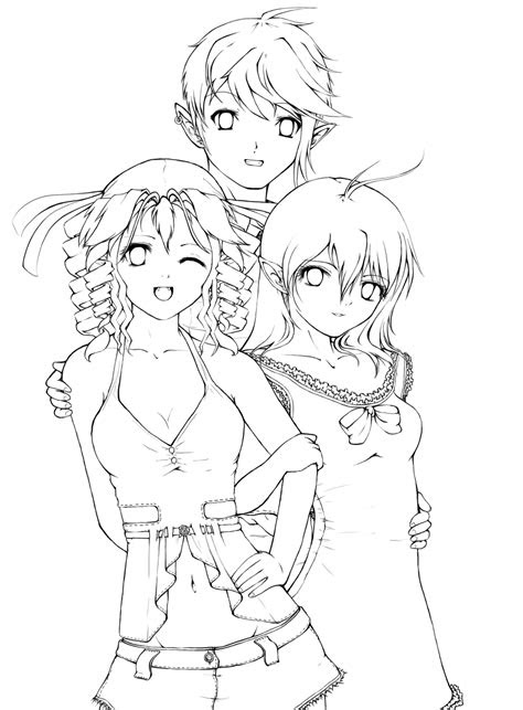 drawings   anime friends group sketch coloring page