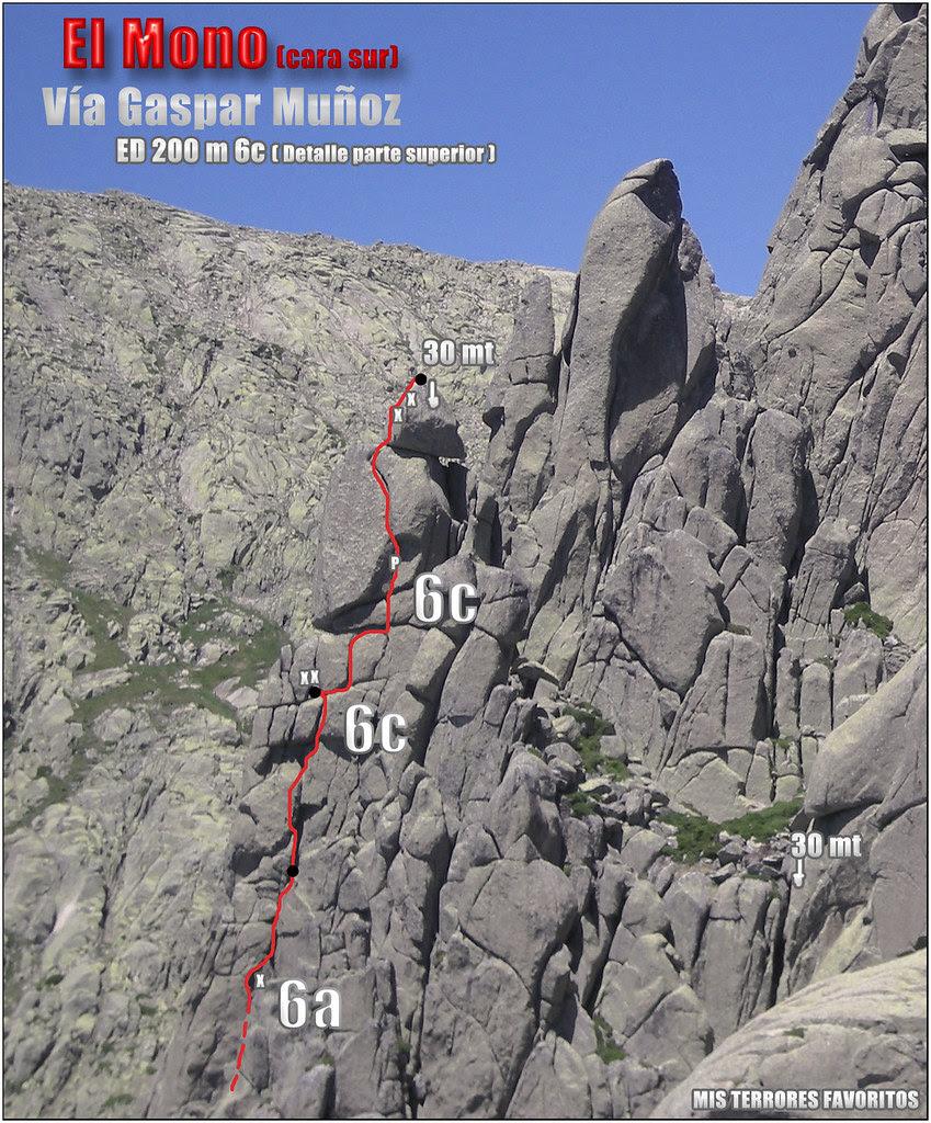 VÍA GASPAR MUÑOZ ED 200 M 6c - EL MONO CARA SUR