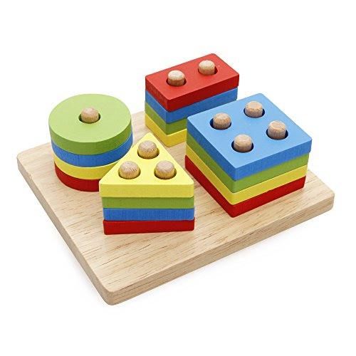 Rolimate Wooden Educational Preschool Shape Color Recognition Geometric Board Block Stack Sort