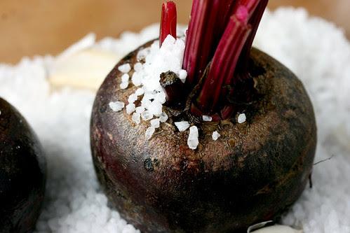 Roasting a salted beet