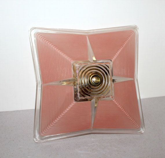 Vintage Ceiling Light Fixture Shade Pink Salmon by That70sShoppe, $75.00