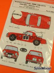ARC Amazing Racing Cars: Calcas escala 1/24 - Datsun Fairlady 2000 SR311 Nº 66 - Hannu Mikkola (FI) + Anssi Järvi (FI) - Rally de Montecarlo 1968, 1968 - calcas, fotograbado - para kit de fujimi