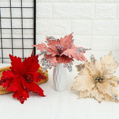 Home Decor 20cm Artificial Flowers Head Glitter Poinsettia Fake Flowers Home Wedding Decor Home Furniture Diy Omnitel Com Na