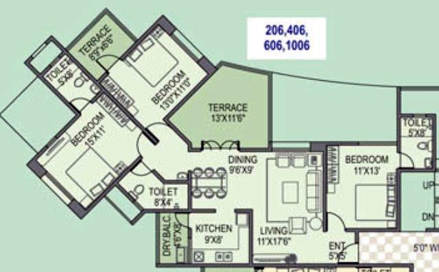 Paranjape Schemes' Gloria Grace E Wing 3 BHK Flat 1052 Carpet + 208 Terrace for Rs. 76.95 Lakhs