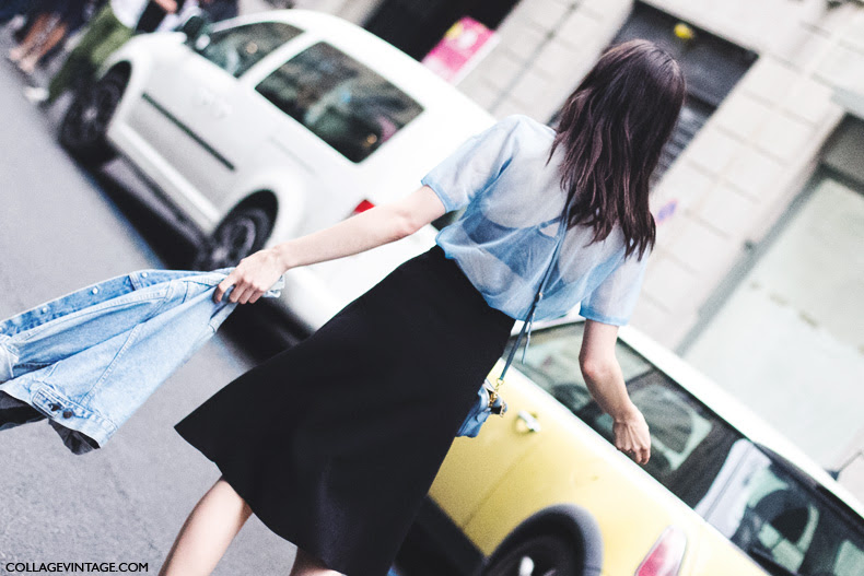 Milan_Fashion_Week_Spring_Summer_15-MFW-Street_Style-Model-Midi_Skirt-Denim_Jacket-Iceberg-