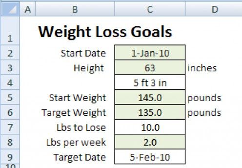 free weight loss planning calculator