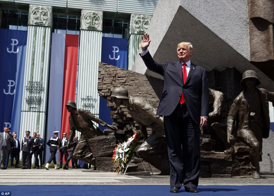 Trump spoke in front of a crowd at Krasinski Square at the Royal Castle in Warsaw on Thursday