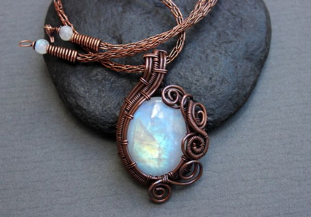 Copper and Rainbow Moonstone Wire Wrapped Pendant and Viking Knit Chain Necklace £55.00