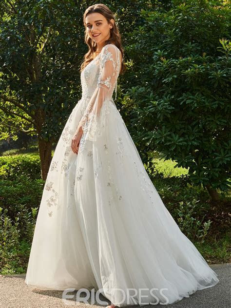 Ericdress V Neck Ball Gown Long Sleeves Tulle Wedding