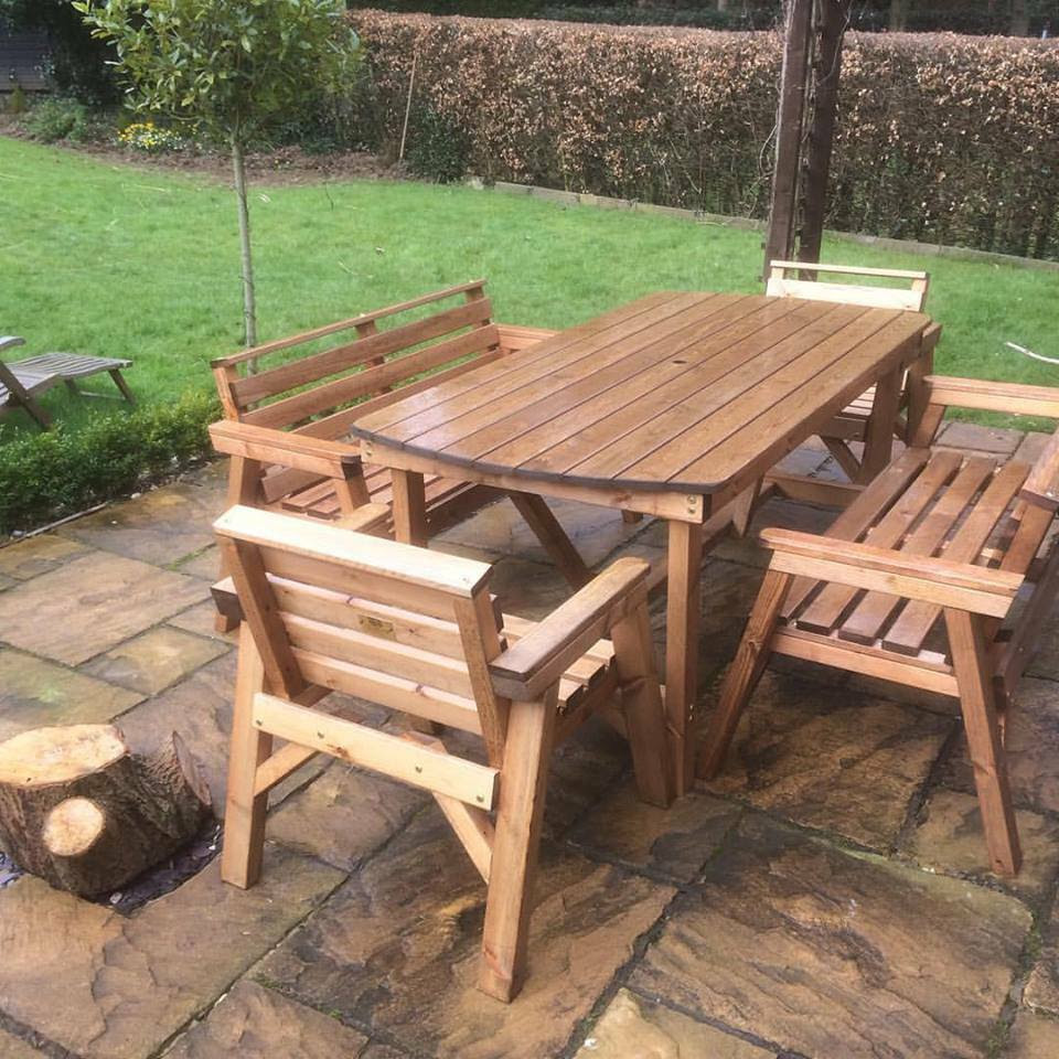 NEW STYLE Solid Wood Garden Patio Furniture Set. 6 ft ...