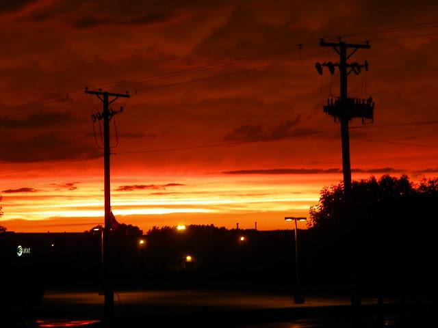 Burning sky sunset in Bridgview