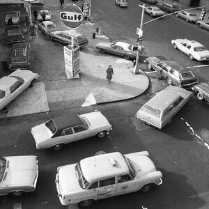 On Dec. 23, 1973, cars formed a double line at a gas station in New York City. The Arab oil embargo caused gas shortages nationwide and shaped U.S. foreign policy to this day.