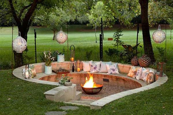 sunken firepit for cozy nights 20