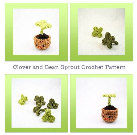 Amigurumi Crochet Pattern - Clover and Bean Sprout Plant