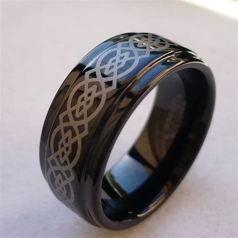 9mm TUNGSTEN CARBIDE CELTIC KNOT BLACK FINISH MEN'S