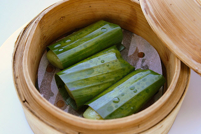 Glutinous Rice Roll with Pork Floss wrapped in Lotus Leaf