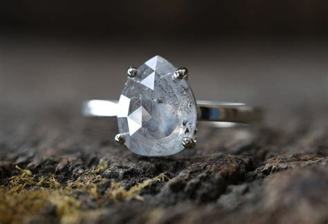 One of a Kind Natural Silver Blue Salt   Pepper Diamond