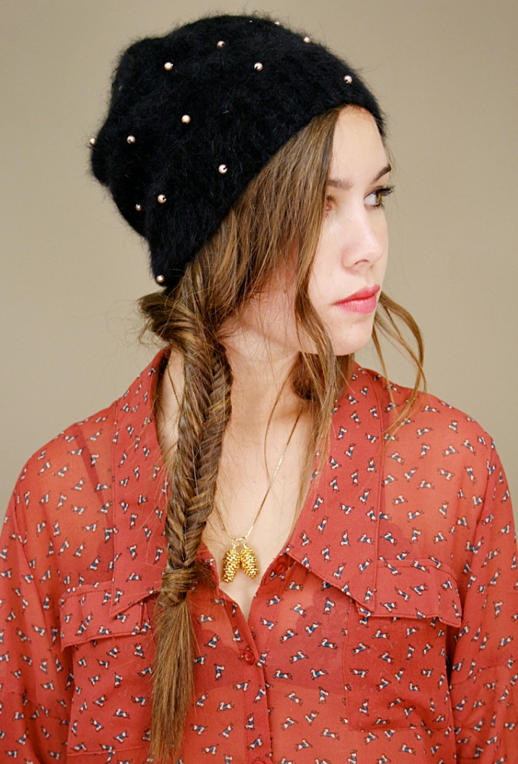 LE FASHION BLOG SHOPCUFFS PEARL EMBELLISHED MOHAIR ANGORA FUZZY BEANIE HAT ACORN CHARM NECKLACE REDPRINT BLOUSE TOP FISHTAIL BRAID