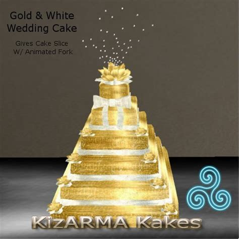 Second Life Marketplace   Gold & White Wedding Cake (Box)
