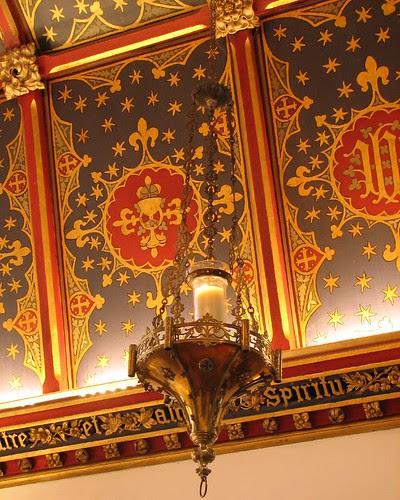 Sanctuary lamp & chancel ceiling