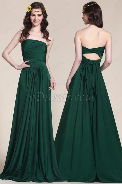 Convertible Dark Green Bridesmaid Dress strapless