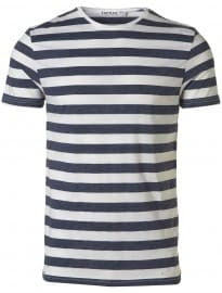 Topman Navy Marl And White Stripe T-shirt