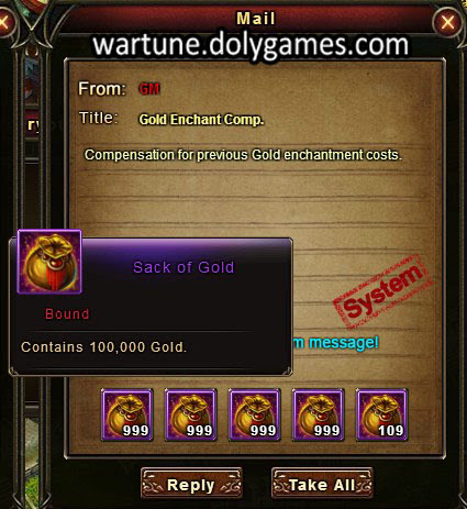Gold enchantment costs compensation