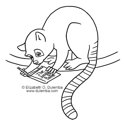Coloring page tuesday l is for lemur for Lemur coloring pages