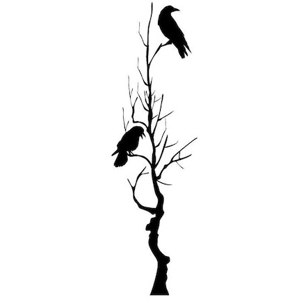 Large Tree with Two Crows Vinyl Wall Decals