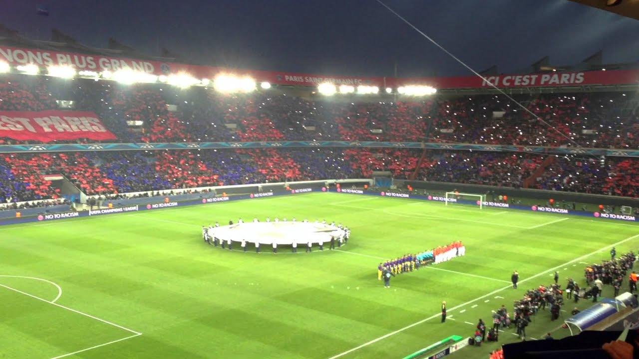 Entrée des joueurs & hymne Champion's League Paris SG vs ...