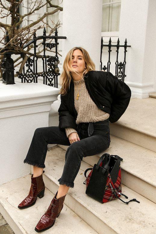 Le Fashion Blog Lucy Williams Oatmeal Colored Sweater Black Bomber Jacket Raw Hem Cropped Black Jeans Burgundy Cowboy Boots Plaid Bag Via Fashion Me Now