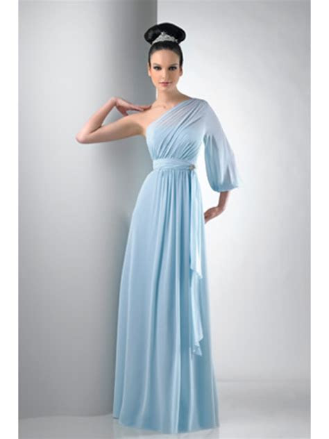 One Shoulder Long Sleeve Chiffon Blue Bridesmaid Dresses