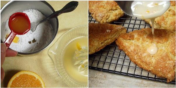 orange buttermilk scones with orange glaze