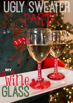 Ugly Christmas Sweater Party DIY Wine Glasses - OhMy-Creative.com
