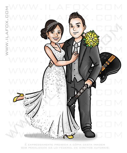 caricatura, caricatura desenho, caricatura casal, caricatura com violão, caricatura para casamento, caricatura digital, by ila fox