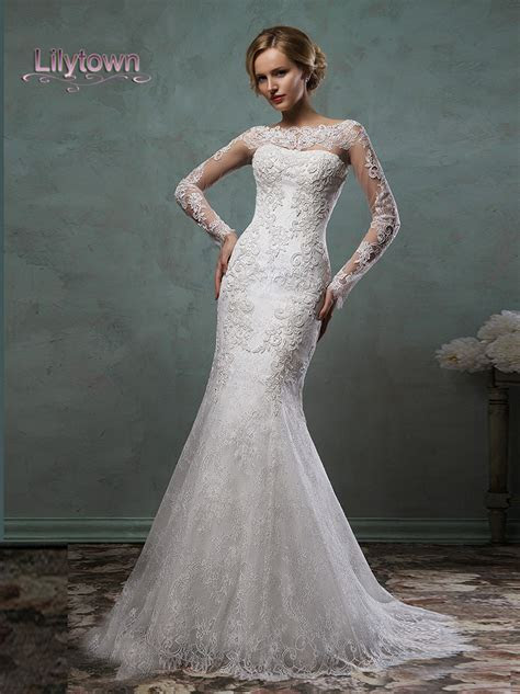 2016 Wedding Dresses Sheer Lace Sleeves Bateau Neckline