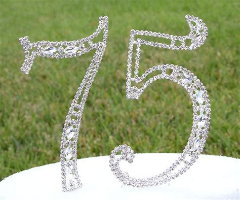 """5"""" Crystal Rhinestone Number 75 Silver Cake Topper Top"""
