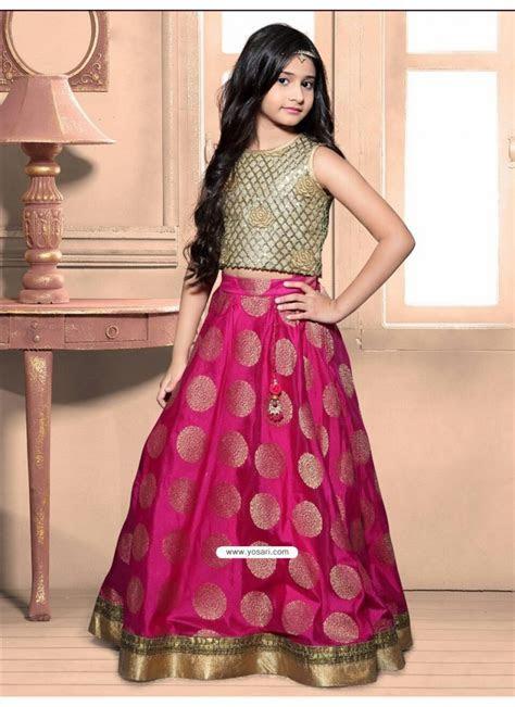 Buy Sizzling Golden Banarasi Top N Magenta Brocade Skirt