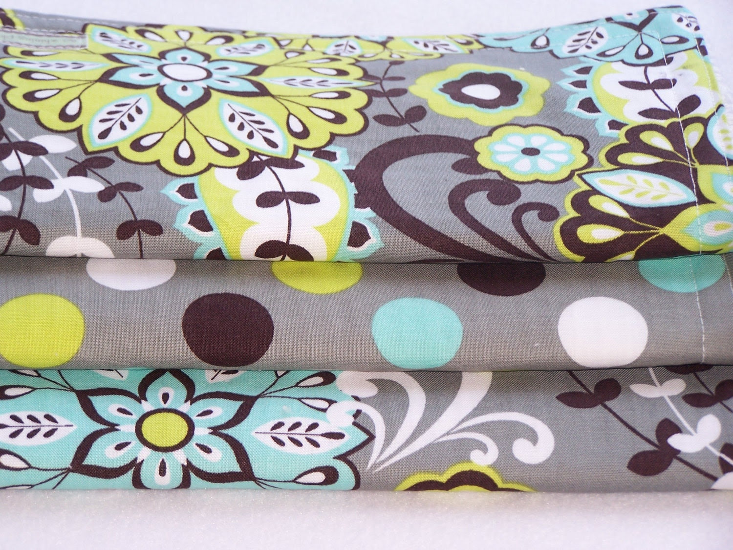 Chenille Burp Cloths Trio--Kiwi Baby--  SAle