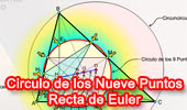 Circunferencia de los Nueve Puntos. Recta de Euler.