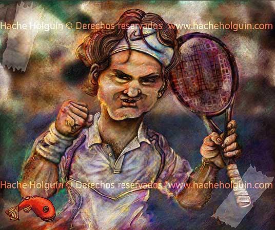 Caricatura de Roger Federer por Hache Holguin
