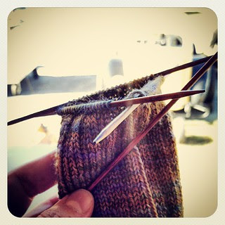 Day 28 #yarnpadc Needles - #cubics #dpn at the race track