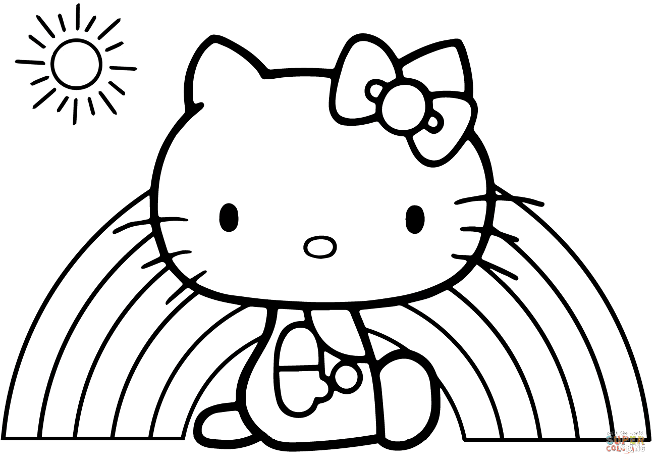 Hello Kitty Rainbow Coloring Page Free Printable Lusine