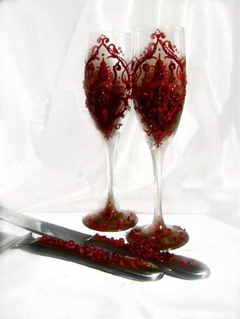 Valentines Wedding Cake Serving Set With Blood Red Damask