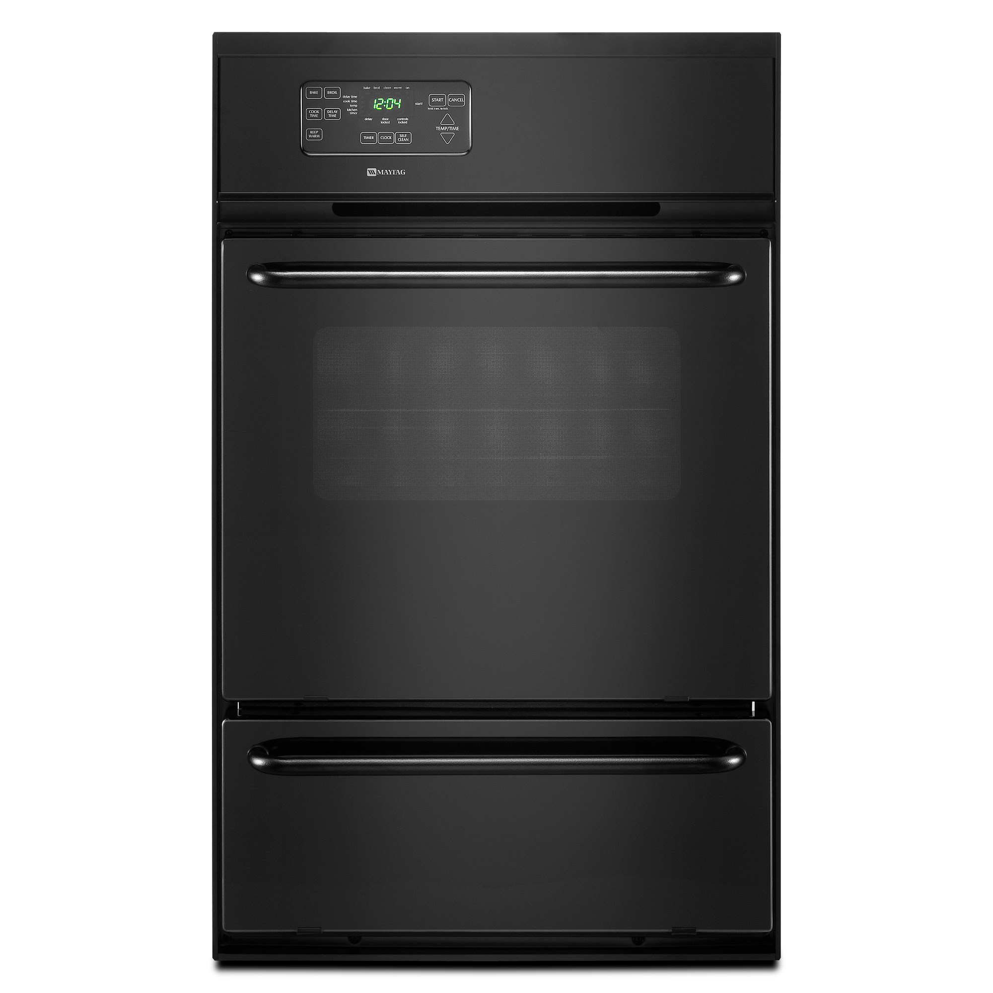 """Maytag 24"""" Black Gas Single Standard Clean Wall Oven with ..."""