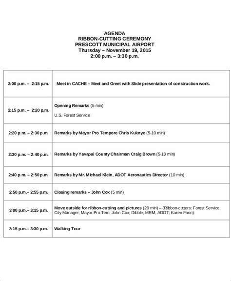 8  Sample Ceremony Agenda   Free Sample, Example Format