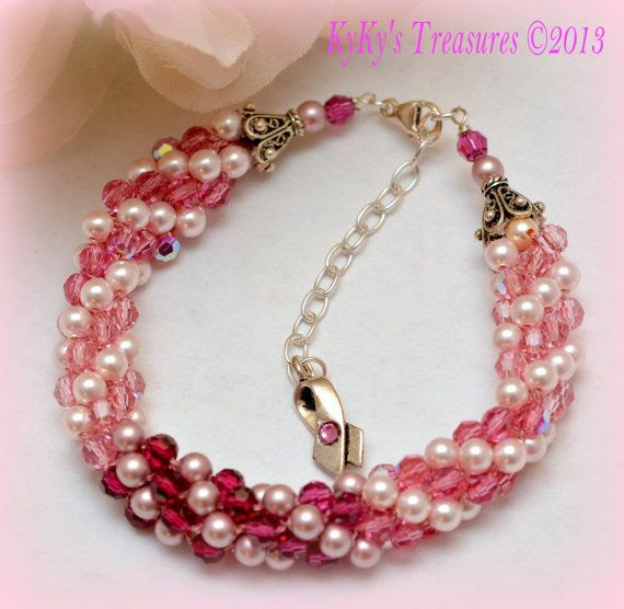Pink Ribbon Cancer Awareness Kumihimo Bracelet by KyKysTreasures, $48.00