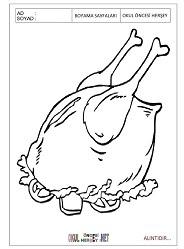 Tavuk Yemeği Boyama Sayfaları