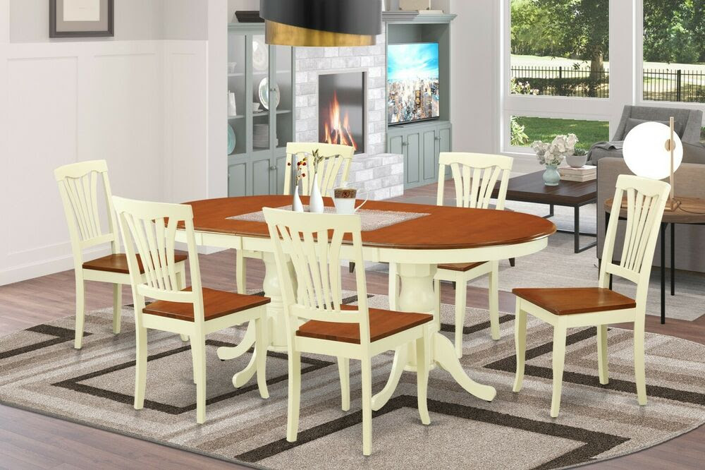 7PC OVAL DINETTE DINING ROOM SET TABLE w/ 6 WOOD SEAT ...
