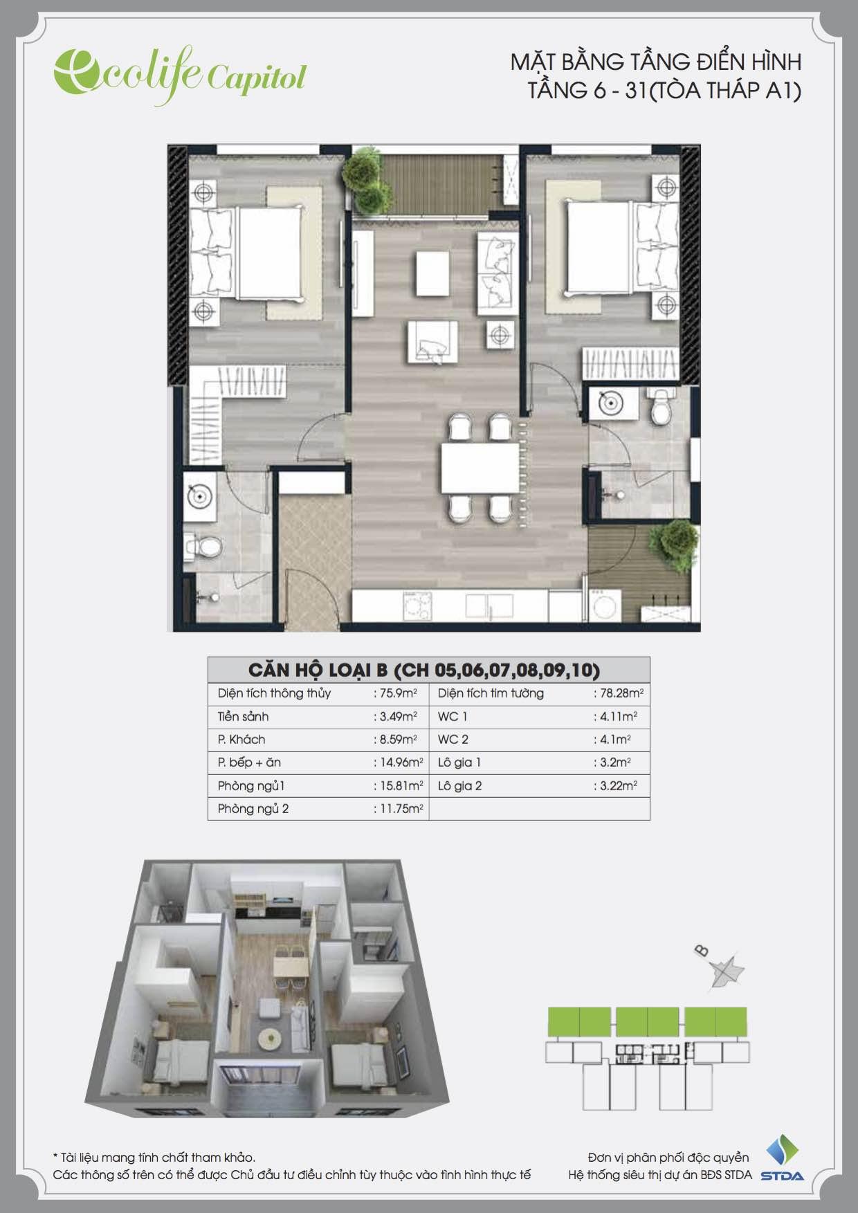 Thiết kế căn hộ B Ecolife Capitol